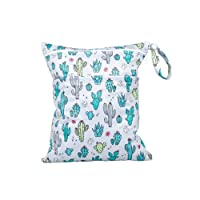 TRENSOM Wet Bag for Swimsuit Waterproof Reusable Bags with Two Zippered Pockets Pockets Cactus Wet Dry Bag for Cloth Diapers Travel Beach Pool Yoga Gym Bag for Pump Wet Clothes 1 pc