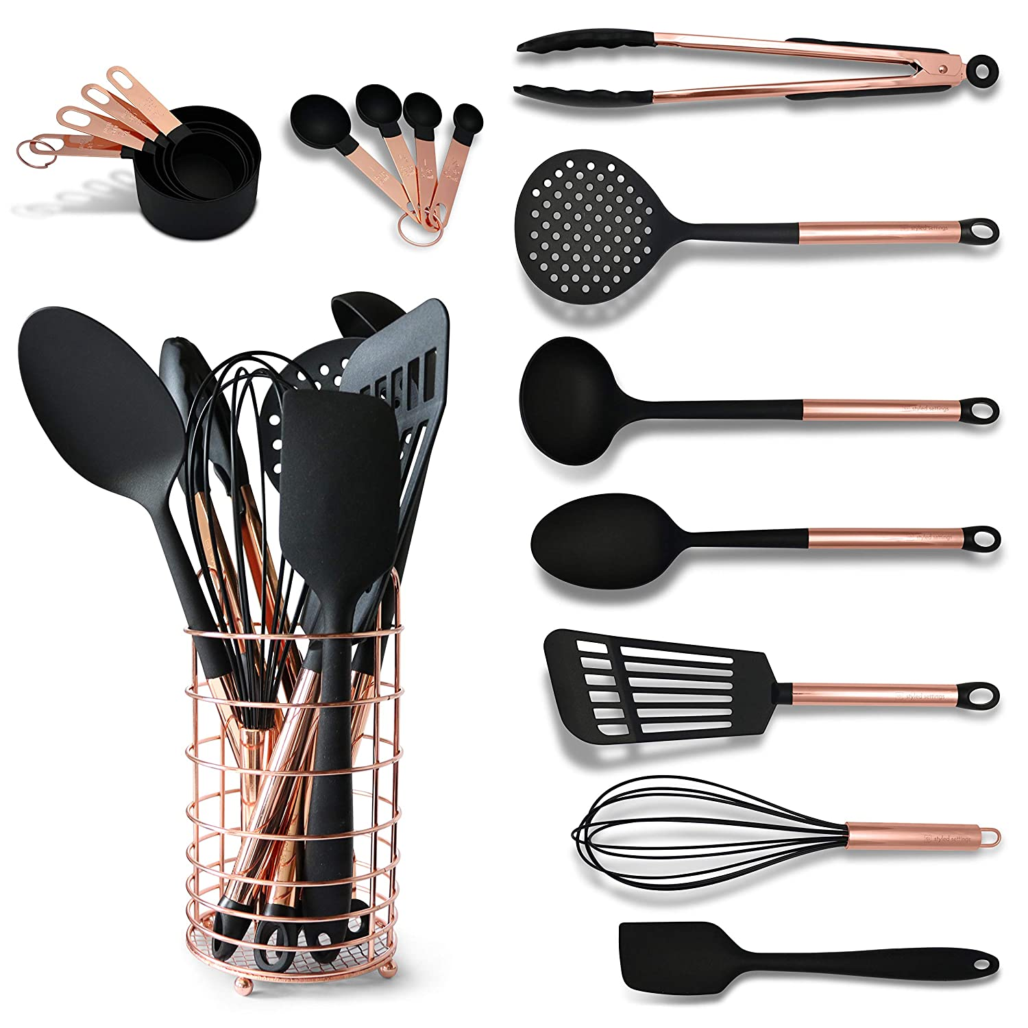 Black and Copper Cooking Utensils with Stainless Steel Copper Utensil Holder - Set Includes Black and Copper Measuring Spoons, Black and Copper Measuring Cups