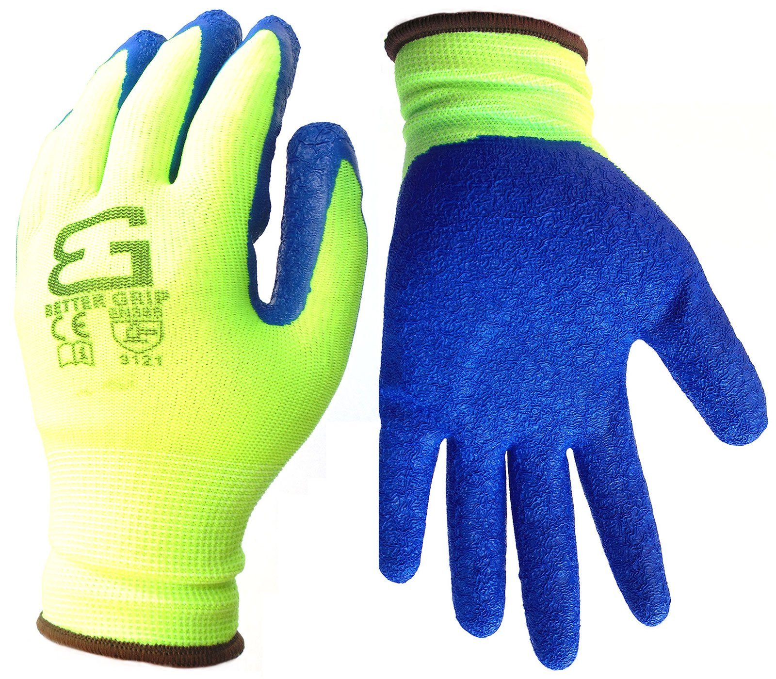 Better Grip Nylon Glove with Textured Latex Coating Gripping Gloves, Crinkle Finished, Large, 6-Pair, Fluorescent Lime
