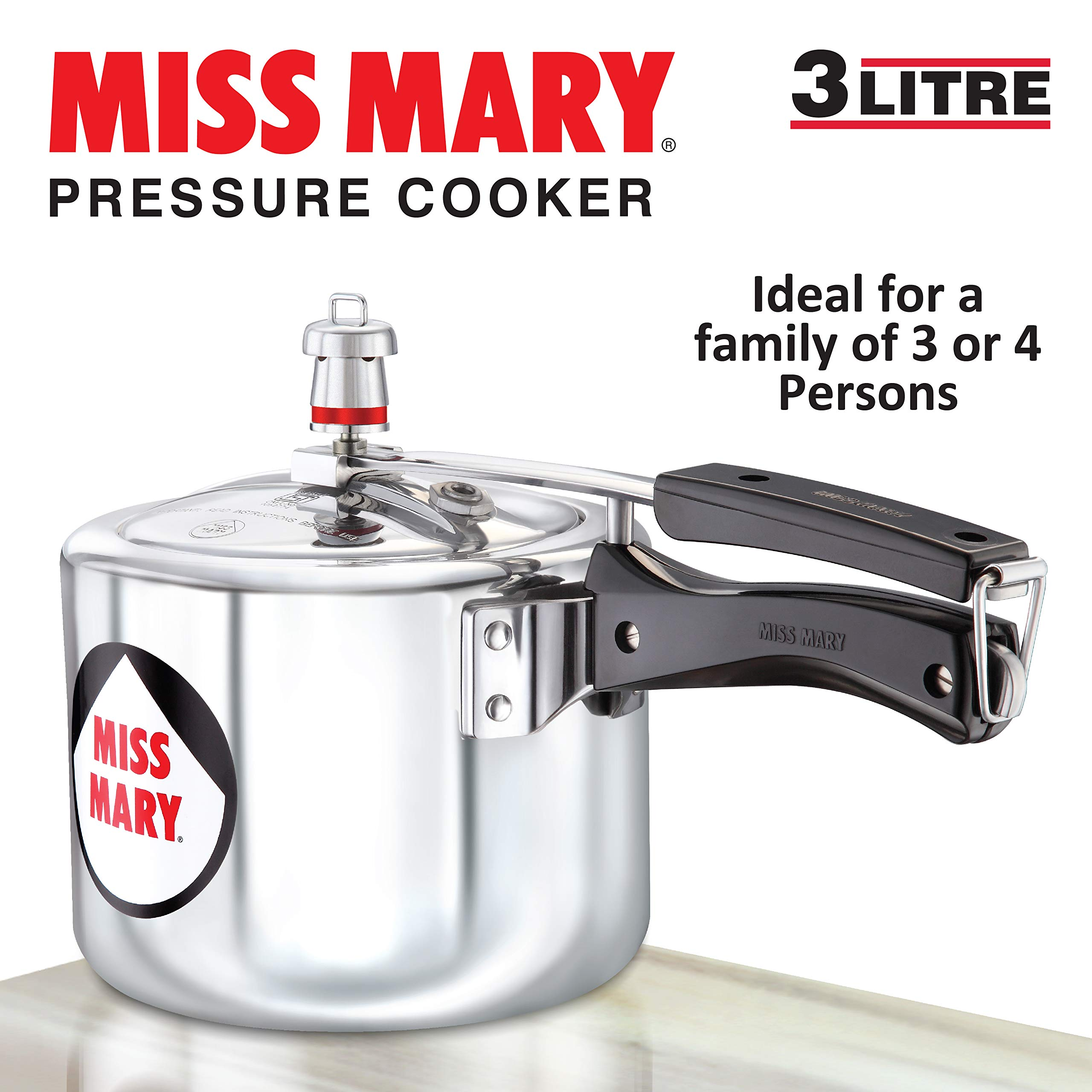 Hawkins Miss Mary Aluminium Pressure Cooker, 3 litres, Silver product image