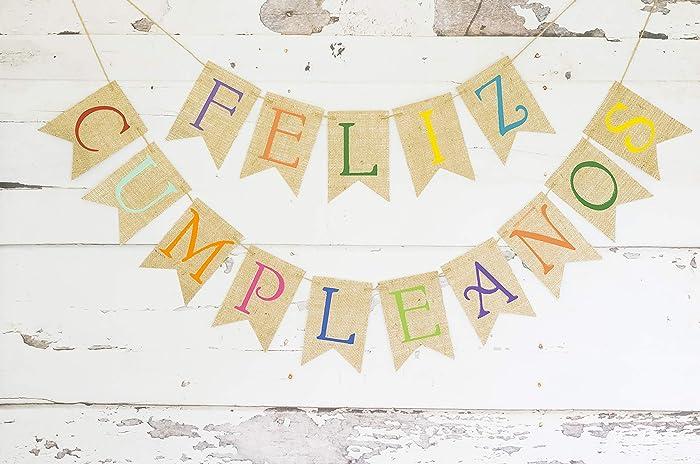 Amazon.com: Cardstock Feliz Cumpleanos Banner | Birthday ...