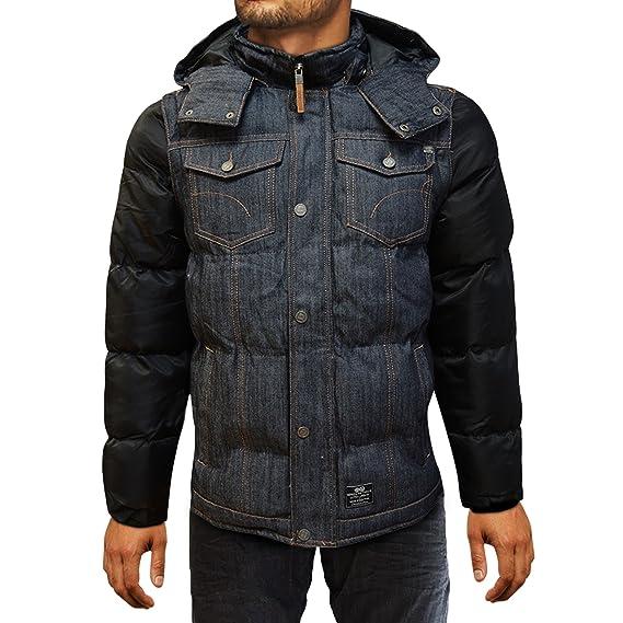 65d921186bb Xelay Mens Crosshatch Jacket Warm Quilted Parka Padded Hood Zip ...