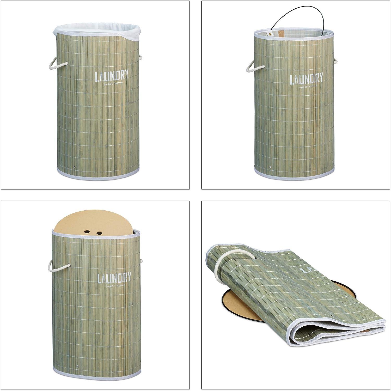Relaxdays Cesto Portabiancheria in bamb/ù Legno Naturale con Coperchio HxD: 60 x 35 cm Pieghevole con Scritta Laundry Rotondo