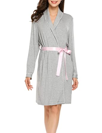bb55aadfce Ekouaer Women s Cotton Bathrobes Soft Kimono Robe Knee Length Spa ...