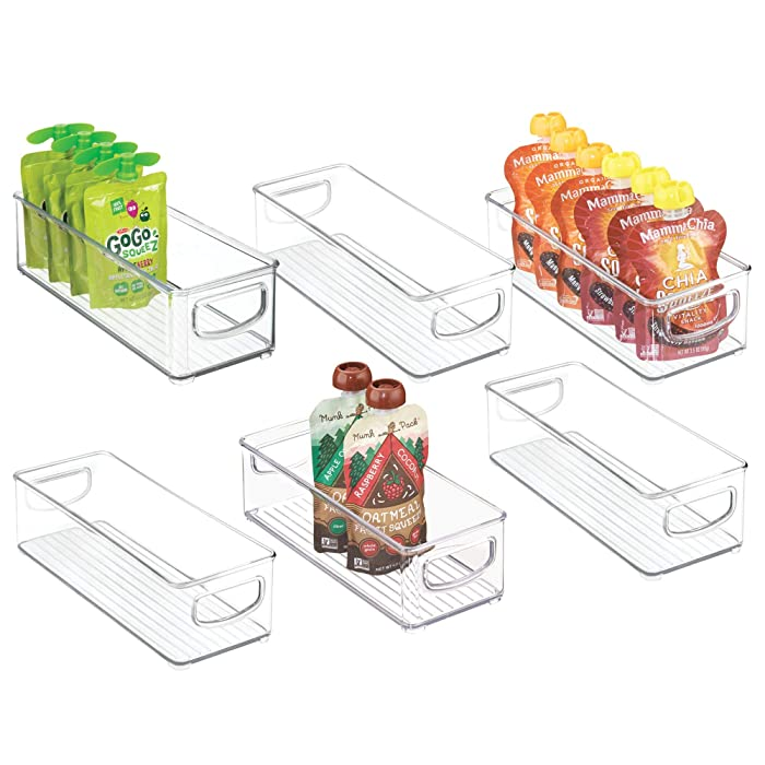 "mDesign Stackable Plastic Kitchen Pantry Cabinet, Refrigerator or Freezer Food Storage Bins with Handles - Organizer for Fruit, Yogurt, Squeeze Pouches - Food Safe, BPA Free, 10"" Long, 6 Pack - Clear"