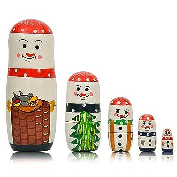 Amazon Com Matryoshka 5pcs Snowman Family New Beautiful Wooden