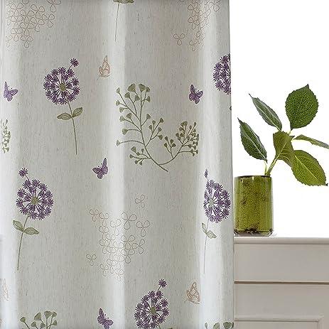 Purple Butterfly Curtains White Linen   KoTing 1 Panel Purple Flower  Dandelion Curtains Living Room Drapes