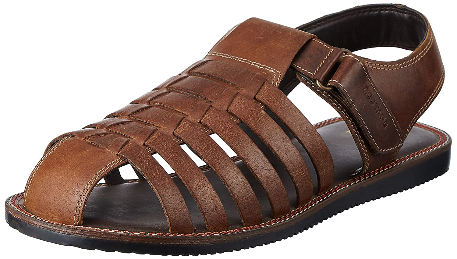 87f18539bab7d Red Tape Men s Brown Leather Sandals - 7 UK India (41 EU)  Buy Online at  Low Prices in India - Amazon.in