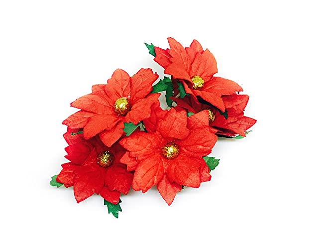 Amazon 2 red poinsettia paper flowers artificial poinsettias 2quot red poinsettia paper flowers artificial poinsettias flowers paper poinsettia christmas flowers fake poinsettia flowers mightylinksfo