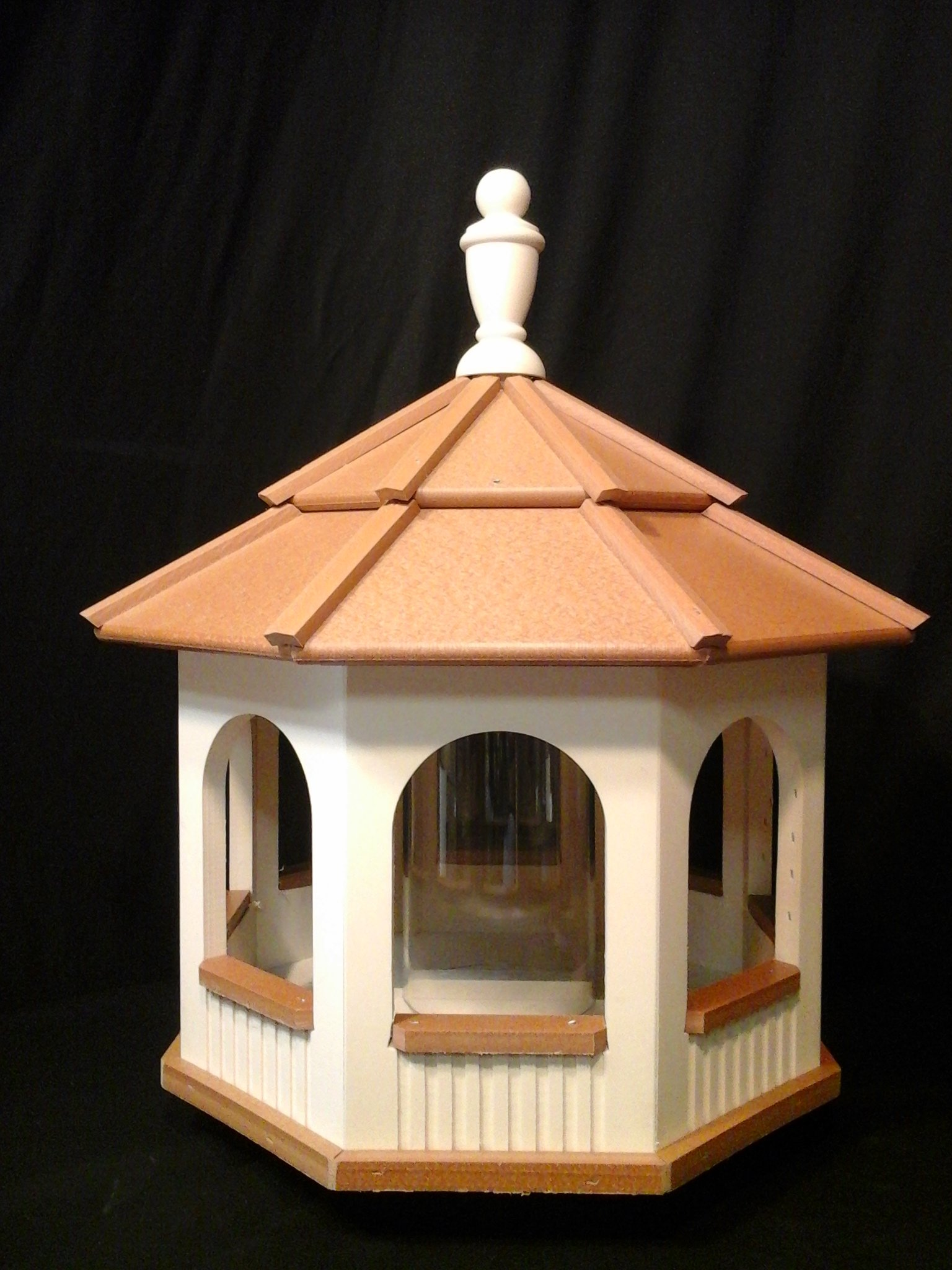 Large Gazebo Vinyl Bird Feeder Amish Homemade Handmade Handcrafted Ivory & Cedar Large