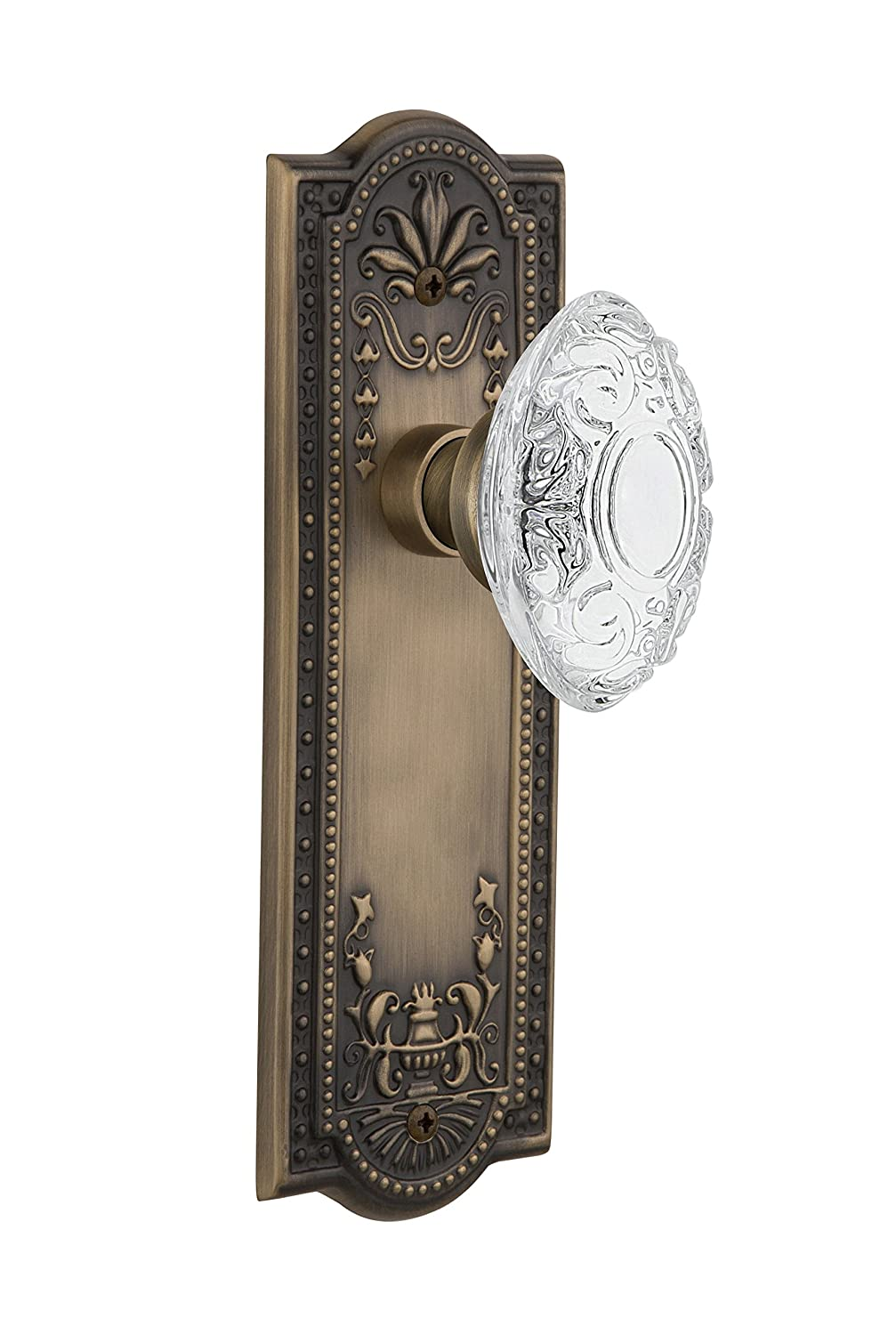 Nostalgic Warehouse 753908 Meadows Plate with Crystal Victorian Knob Passage Backset Size 2.375 Antique Brass