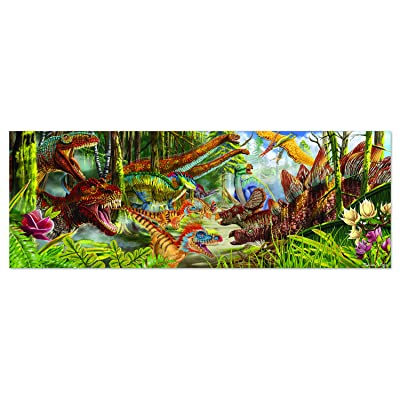 "Melissa & Doug Dinosaur World Floor Puzzle (Easy-Clean Surface, Promotes Hand-Eye Coordination, 200 Pieces, 50"" L x 18"" W, Great Gift for Girls and Boys - Best for 3, 4, 5, and 6 Year Olds): Toys & Games"