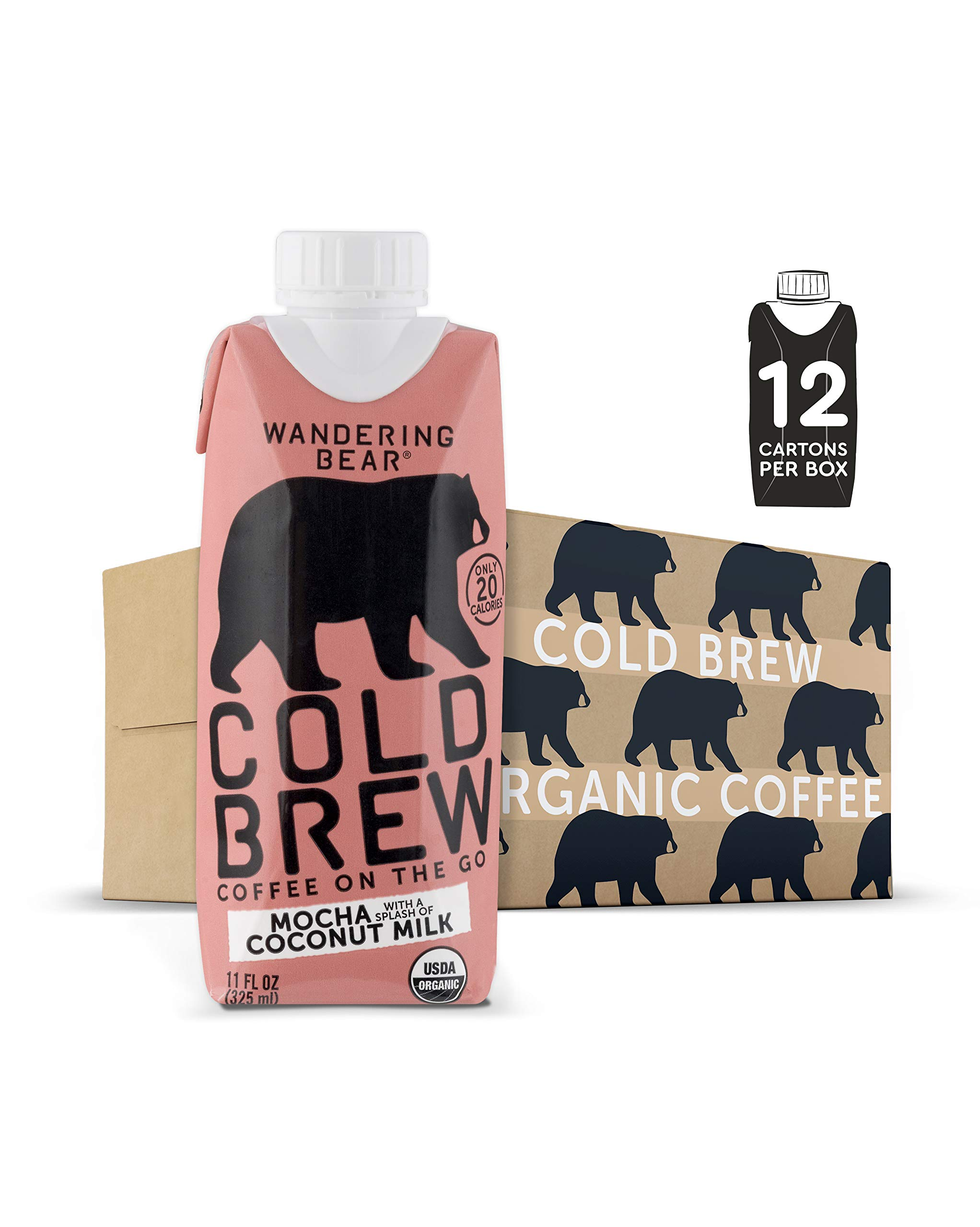 Wandering Bear Organic Cold Brew Coffee On-the-Go 11 oz Carton, Mocha With Splash of Coconut Milk, No Sugar, Ready to Drink, Not a Concentrate (Pack of 12)