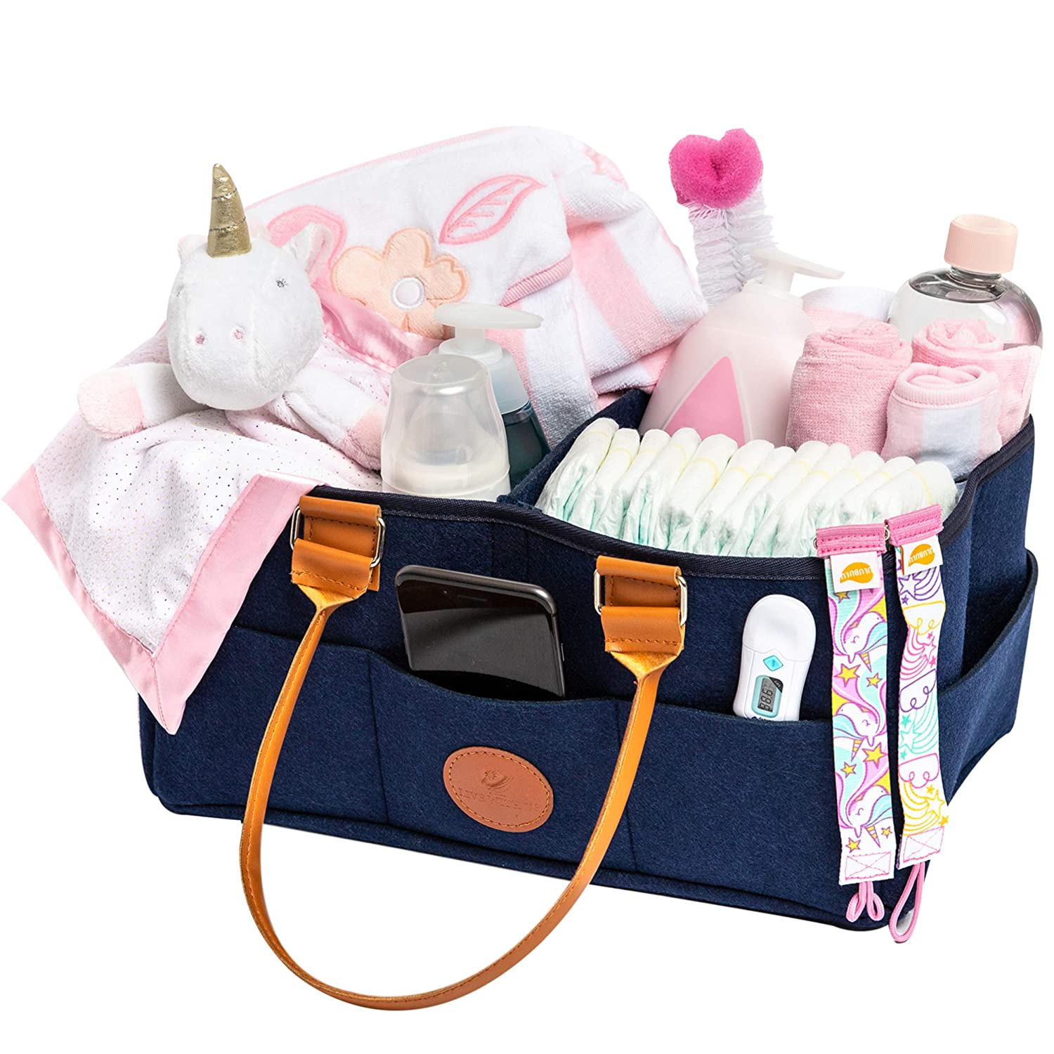 Baby Diaper Caddy and Nursery Organizer (Large) Compact, Portable Bag Storage Babies Infants, Toddlers |External Pockets |Girl, Boy | Newborn Baby Essentials Basket Shower Registry for Changing Table Live With Us