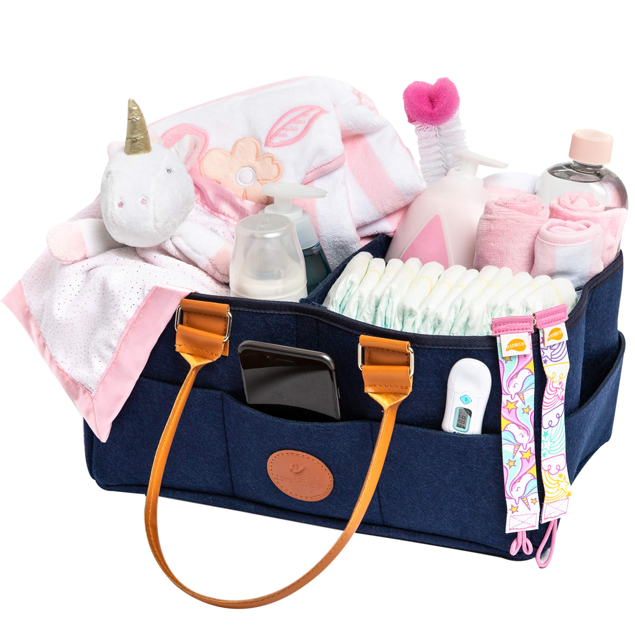 Baby Diaper Caddy and Nursery Organizer Station Compact, Portable Holder Bag for Changing Table and Car |External Pockets |Girl, Boy | Newborn Baby Essentials Basket Organizers Shower Registry