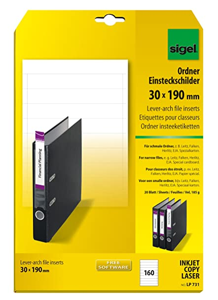 Sigel LP731 Lomos de PC para archivadores , 30x190 mm (A4), 185 g