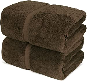 Towel Bazaar 100% Turkish Cotton Bath Sheets, 700 GSM, 35 x 70 Inch, Eco-Friendly (2 Pack, Cocoa)