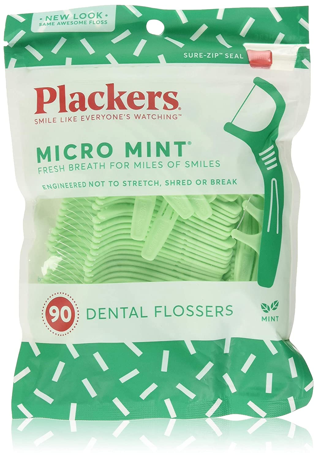 Plackers Micro Mint Freshens Breath, Mint, 90 Count : Beauty