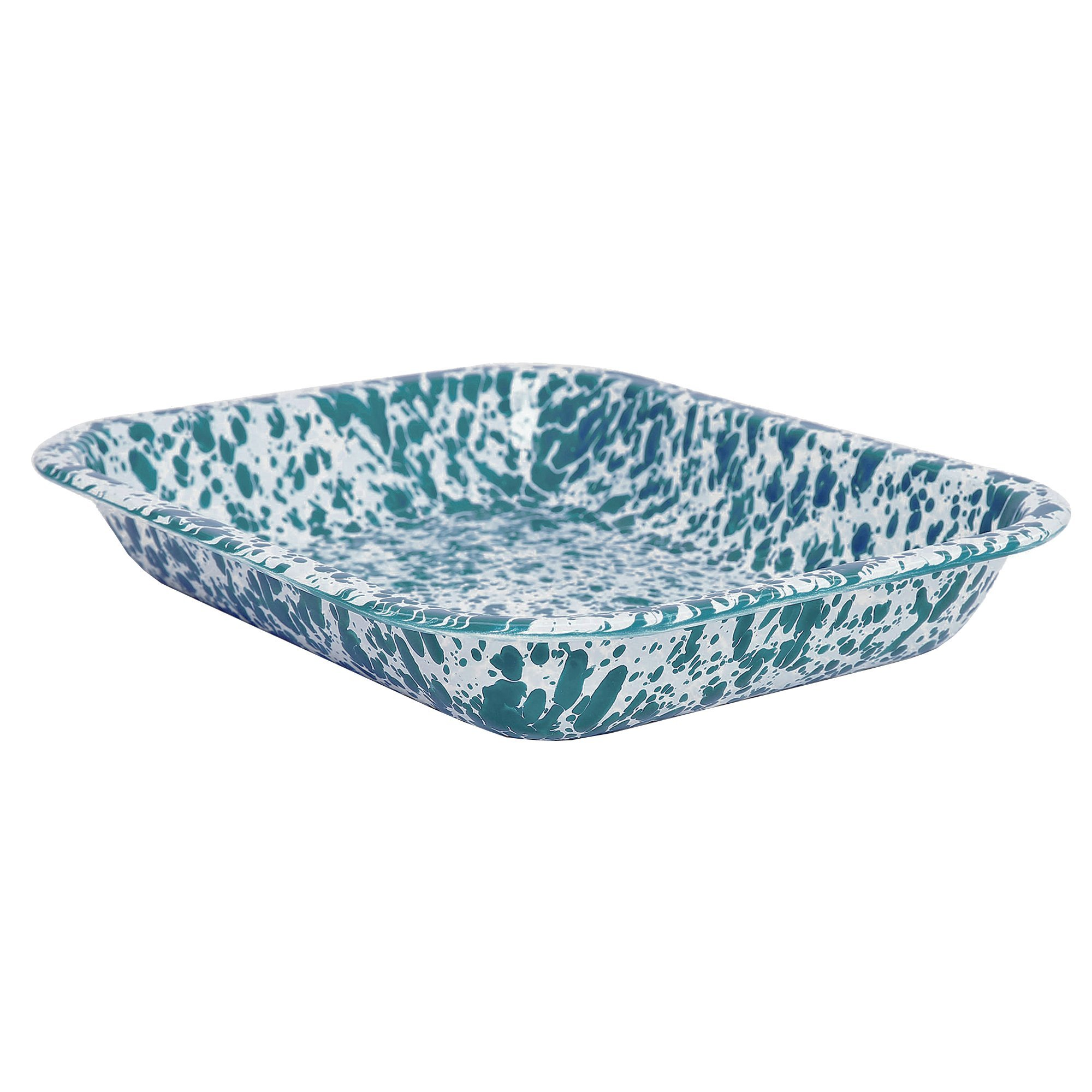 Enamelware Small Roasting Pan - Turquoise Marble