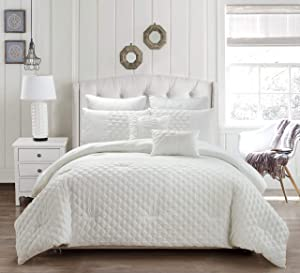 kensie Somali Geometric Comforter Set, Queen, White