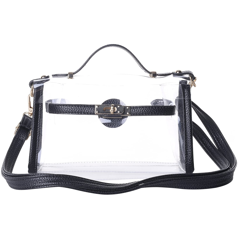 7037a41c53 Amazon.com  Women s Transparent Clear Waterproof Handbags Cross-Body  Messenger Shoulder Bag Black  Clothing