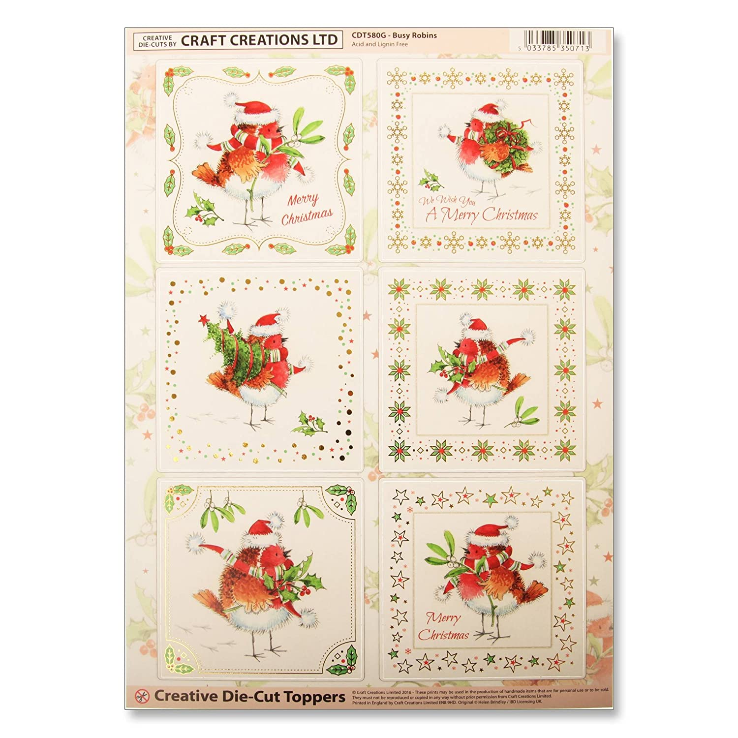 Craft Creations Christmas Creative Die-Cut Card Toppers - CDT580G Busy Robins - Robins In Xmas Hats - Gold Foil Borders - A4 210x297mm 250gsm 300mic Craft Creations Ltd