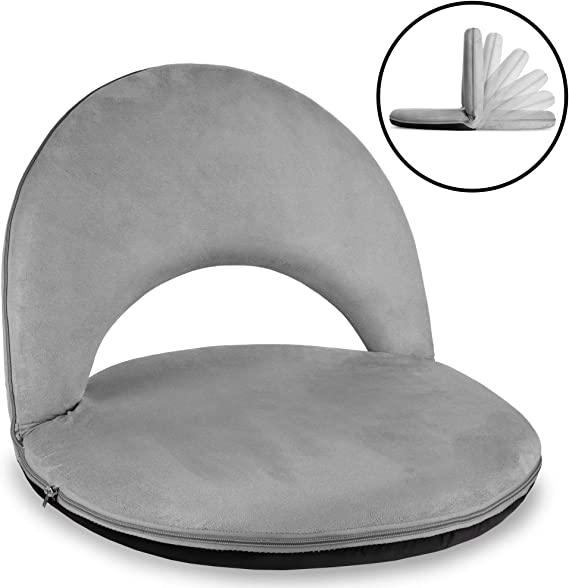 Best Choice Products Multipurpose Adjustable Floor Chair Cushioned Recliner w/Microfiber Machine-Washable Cover - Gray