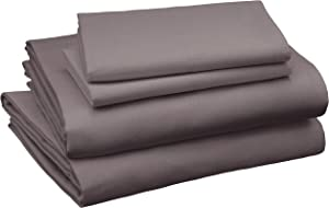AmazonBasics Cotton and Rayon Derived from Bamboo Sheet Set - Queen, Dark Grey