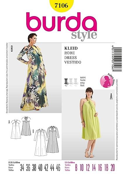timeless design 47591 a2e16 Burda B7106 - Cartamodello per realizzare abito lungo da ...