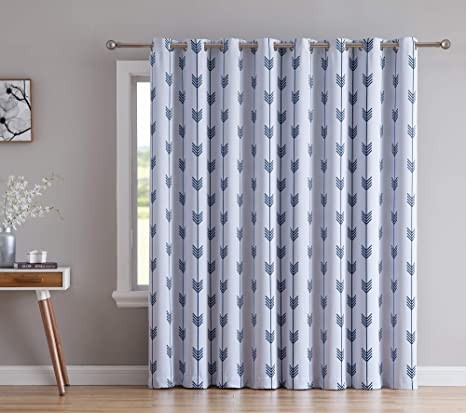 Amazon Com Hlc Me Arrow Print Thermal Grommet Blackout Patio Door Curtain For Sliding Doors Living Room Extra Wide Windows 100 W X 84 L Platinum White Navy Blue Home
