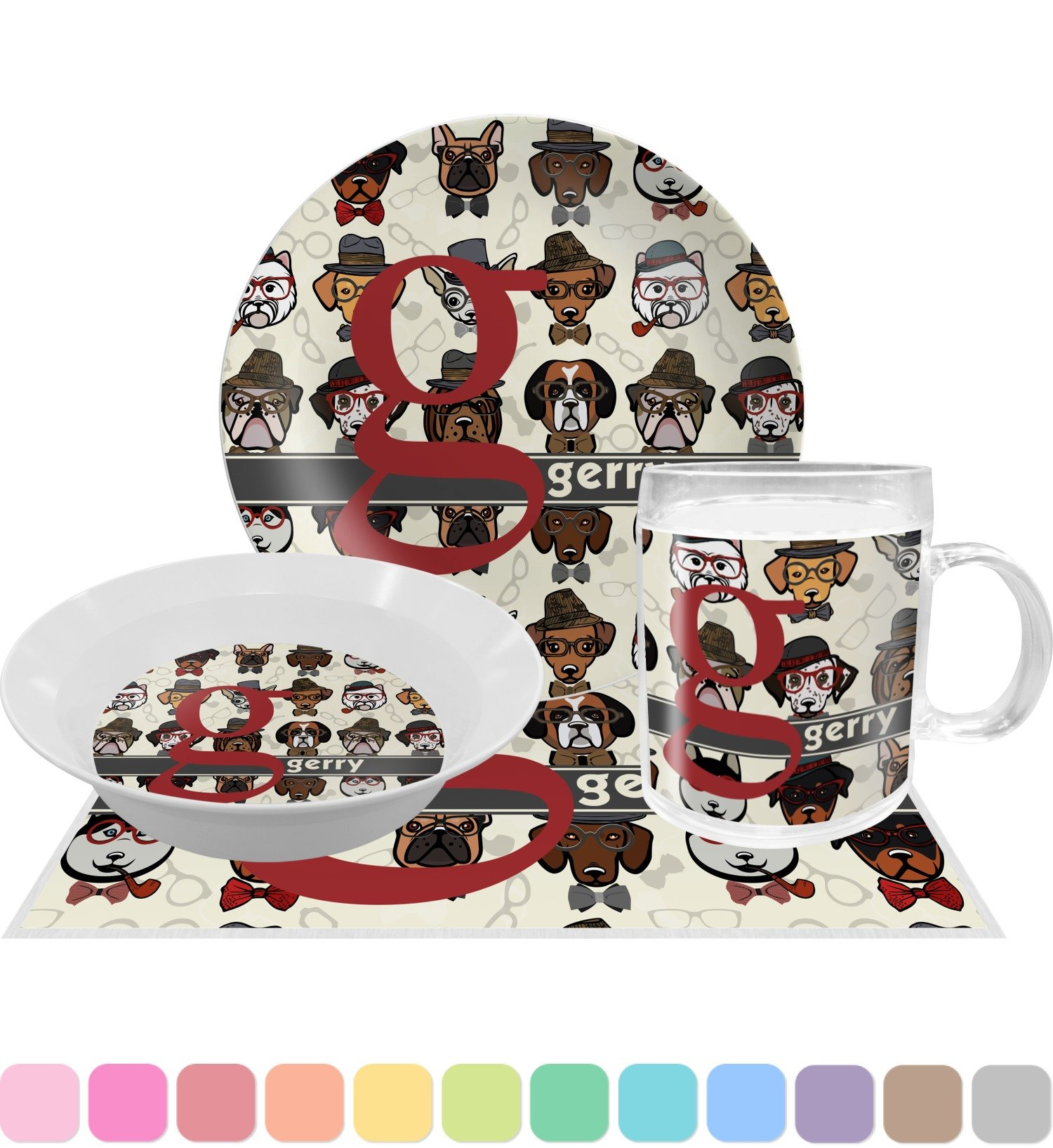 Hipster Dogs Dinner Set - 4 Pc (Personalized)