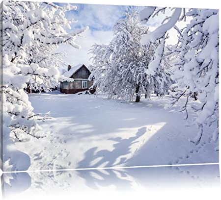Winterlandschaft Berge Panorama Format Bild auf Leinwand Wandbild Poster
