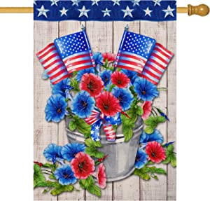 Furiaz Decorative Patriotic Morning Glory Large House Flag, July 4th American Home Outside Garden Yard Red Blue Flower Decoration, USA Spring Summer Outdoor Décor Burlap Flag Double Sided 28 x 40