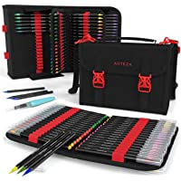 Arteza Real Brush Pens, 96 Colors for Watercolor Painting with Flexible Nylon Brush Tips, Paint Markers for Coloring, Calligraphy and Drawing with Water Brush + Organizer Case with 108 Slots