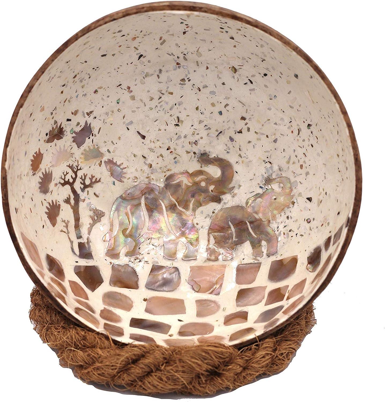 Bol d/écoratif Meer Coco/® en noix de coco Id/éal comme bol /à bijoux cl/és et bol 1 bol en noix de coco Motif /él/éphant noir 1 support