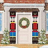 SLEPL Nutcracker Christmas Decorations - Outdoor Xmas Decor - Soldier Model Nutcracker Banners for Front Door Porch Garden Indoor Exterior Kids Party