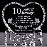 YWHL 10 Year Crystal 10th Wedding Anniversary Paperweight Keepsake Gift for Her Wife Girlfriend Him Husband