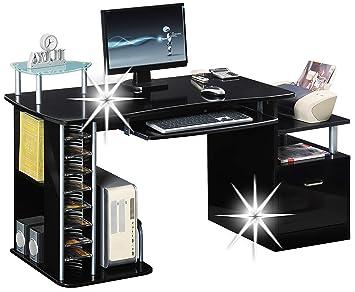 Sixbros bureau informatique très brillant noir s a amazon