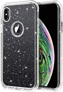 BENTOBEN Glitter Transparent iPhone Xs Max Case, 2 in 1 Hybrid Soft TPU Bumper Hard PC Cover Slim Non-Slip Shockproof Protective Phone Case for iPhone Xs Max 6.5
