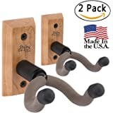 String Swing Guitar Hanger – Holder for Electric Acoustic and Bass Guitars – Stand Accessories for Home or Studio - Musical Instruments Safe without Hard Cases - Cherry Hardwood Wall Mount 2 Pack