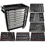 Chrono XL Chariot à outils/servante d'atelier à 7 tiroirs dont 6 tiroirs garnis d'outils manuels Dont jeux d'embouts, clés à cliquets, douilles, et bien davantage