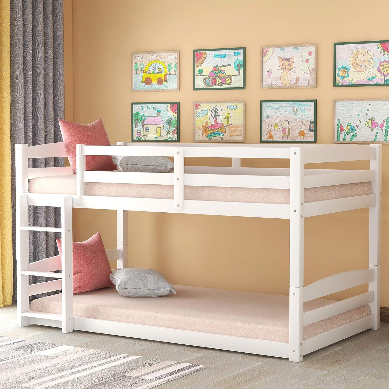 Amazon Com Floor Bunk Bed Twin Over Twin Julyfox White Low Bunk