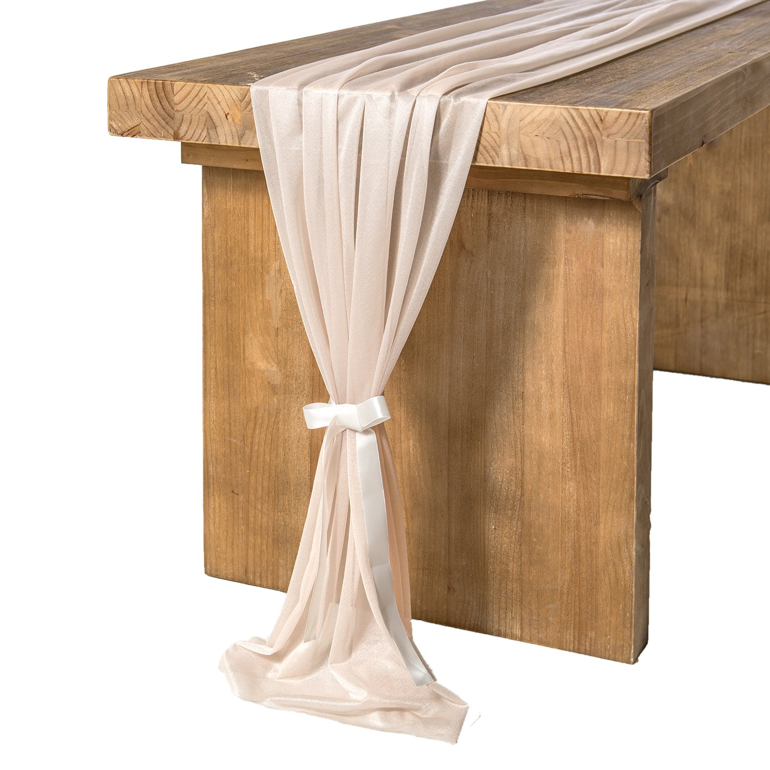 Ling's moment 10Ft Nude Sheer Table Runner for Rustic Boho Wedding Party Bridal Shower Decorations