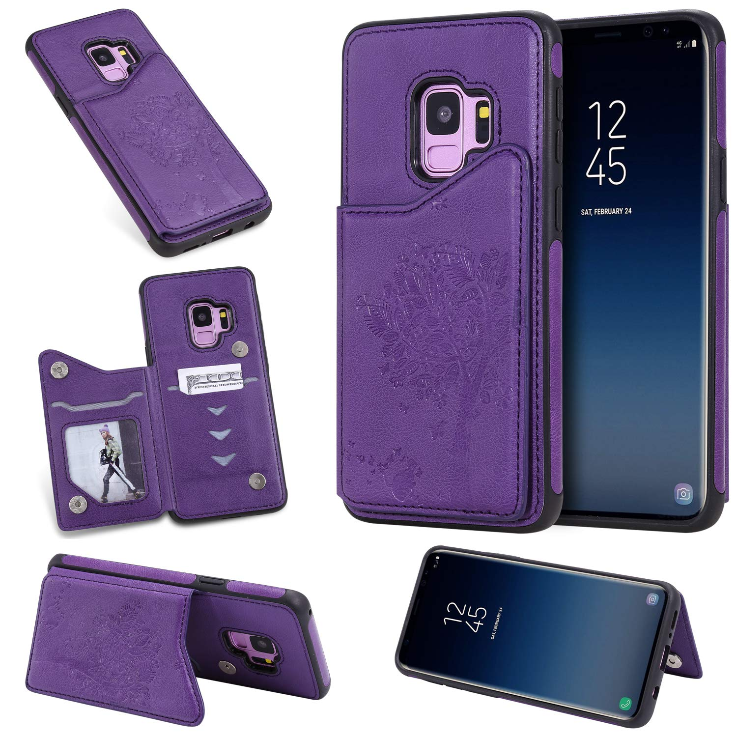 DAMONDY Wallet Case for Galaxy S9,Emboss Tree Cat Slim Protective Case with Credit Card Slot Holder Flip Folio Soft PU Leather Magnetic Closure Cover Case for Samsung Galaxy S9-Purple by DAMONDY