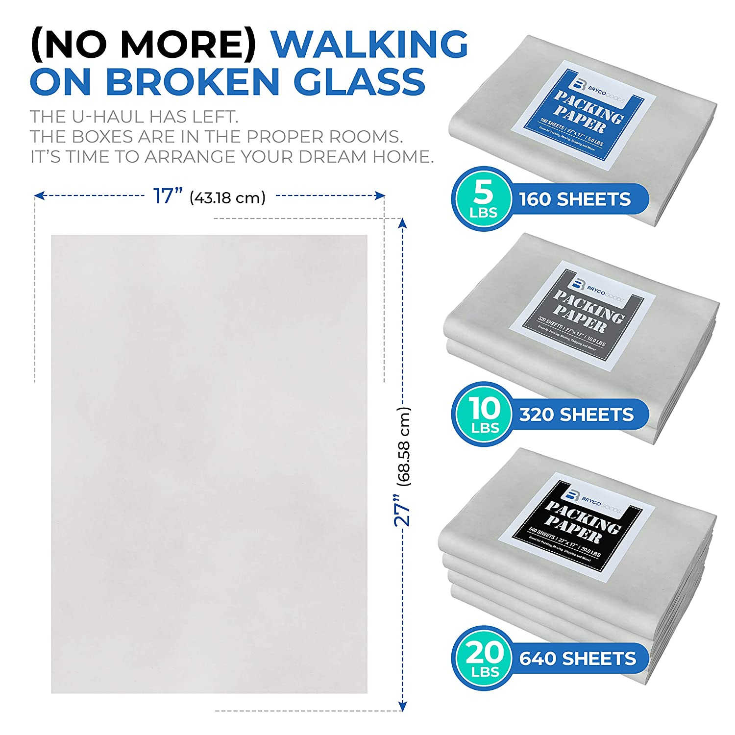 """Packing Paper Sheets for Moving - 20lb - 640 Sheets of Newsprint Paper - Must Have in Your Moving Supplies - 27"""" x 17"""" - Made in USA: Industrial & Scientific"""