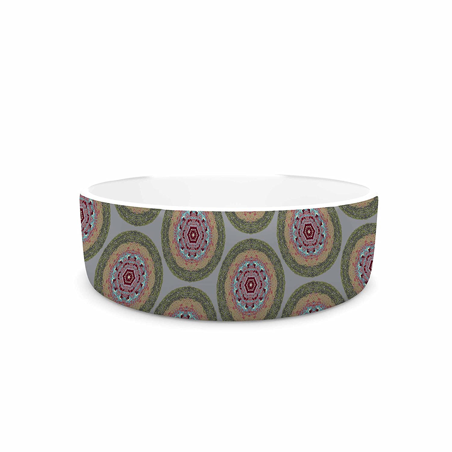 KESS InHouse Rachel Watson Lucrezia Borgia Brocade Purple Green Pet Bowl, 7  Diameter