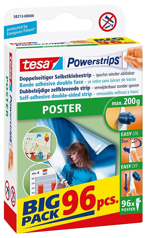 tesa Powerstrips® Poster-Klebestreifen, max. 200 g, spurlos wieder ablösbar, BIG PACK mit 96 Stück (5er Pack)