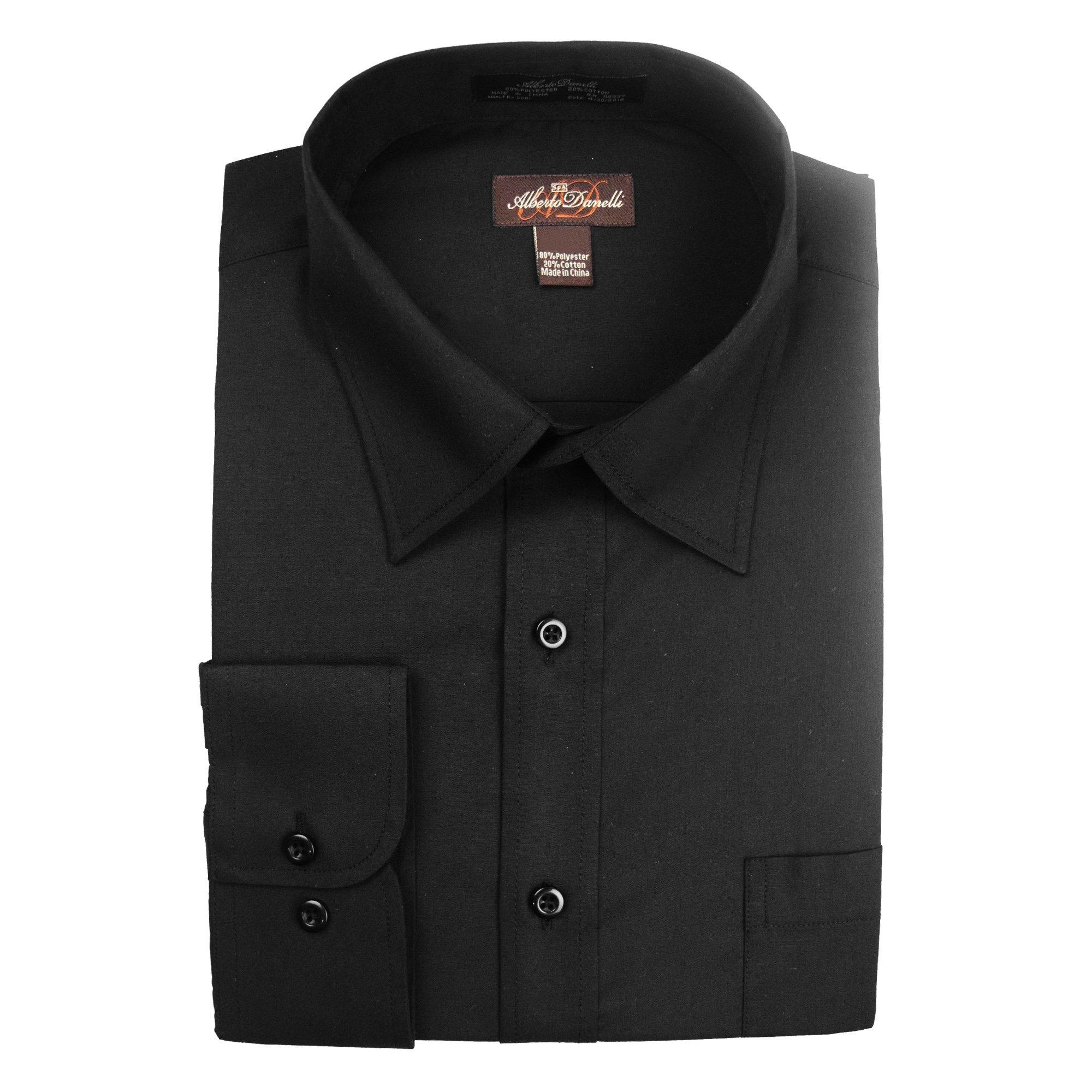 Alberto Danelli Men's Solid Long Sleeve Dress Shirt, Black, Medium / 15-15.5'' Neck, 33/34'' Sleeve