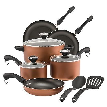 Paula Deen Dishwasher Safe Nonstick Cookware Set 11 Piece Copper