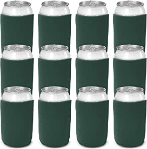CSBD Beer Can Coolers Sleeves, Soft Insulated Reusable Drink Caddies for Water Bottles or Soda, Collapsible Blank DIY Customizable for Parties, Events or Weddings, Bulk (12, Hunter Green)